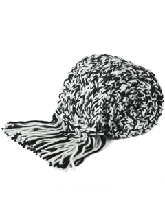 LOVE online store WOMEN Cable Knit Scarf (black & cream)