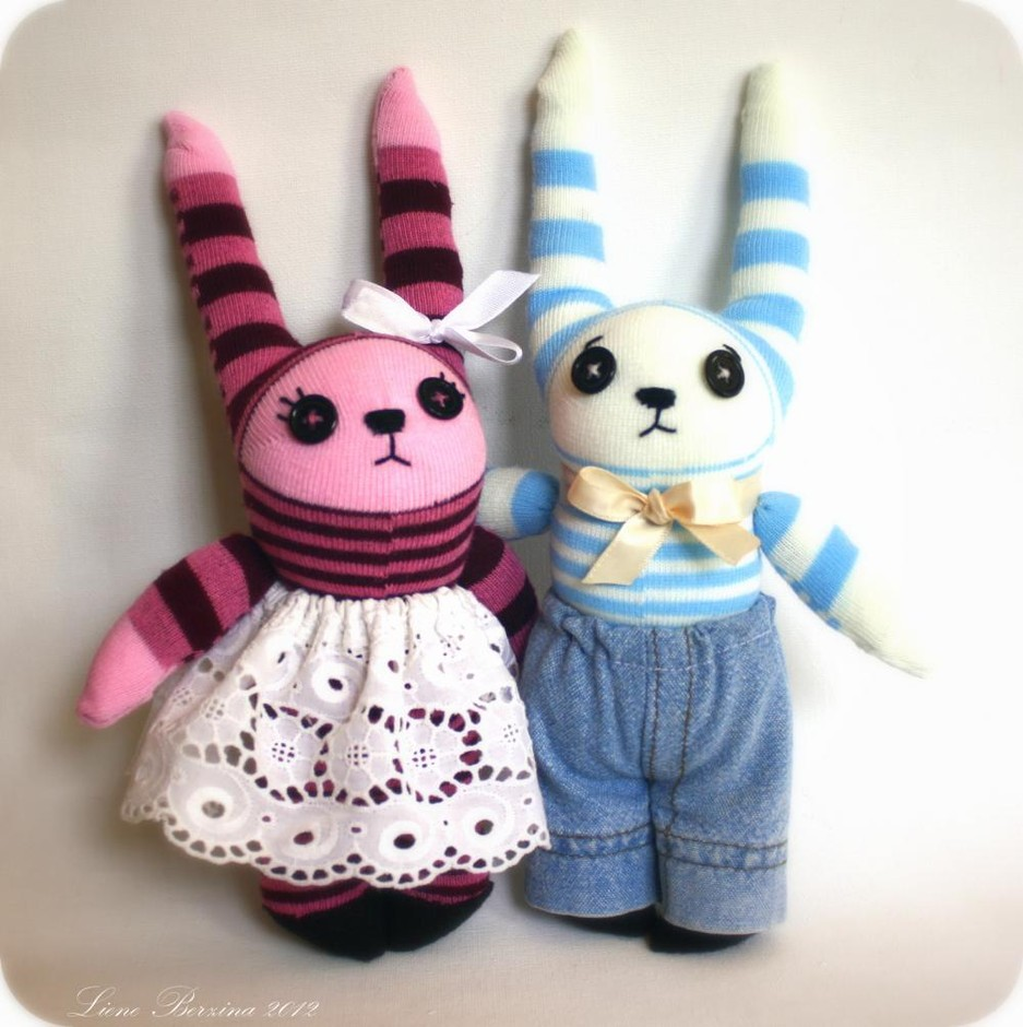 Couple Of Sweet Little Sock Bunnies: Pink/purple And Blue/yellow | Luulla