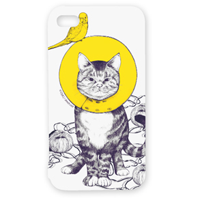 """""""Cat with Elizabeth collar"""" with his friend iPhone case (for iPhone4・4S) - D[di:]'s Official SHOP"""