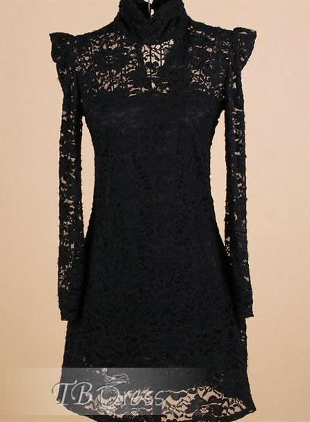 Pretty OL Style Long Sleeves Turtle Collar Pure Color Night Club Sexy Korean Lace Dress : Tbdress.com