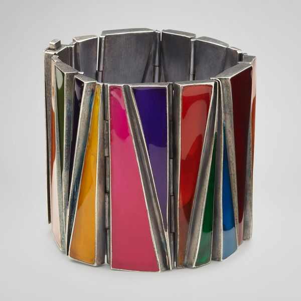 Multicolor Enameled Oxydized Silver Cuff