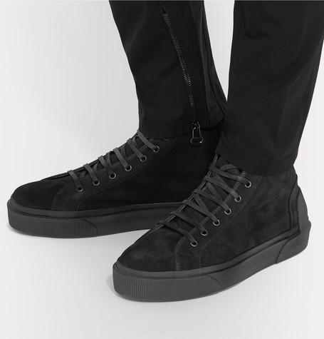 Lanvin - Distressed Suede High-Top Sneakers