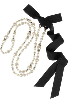 Lanvin|Swarovski crystal and faux pearl necklace |NET-A-PORTER.COM