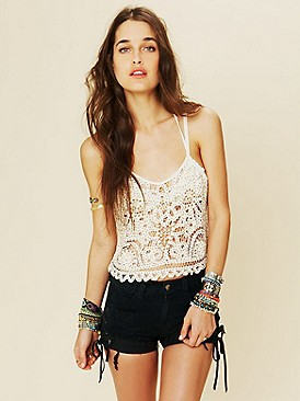 Intimately Free People Beaded and Studded Battenburg Crop Cami at Free People Clothing Boutique