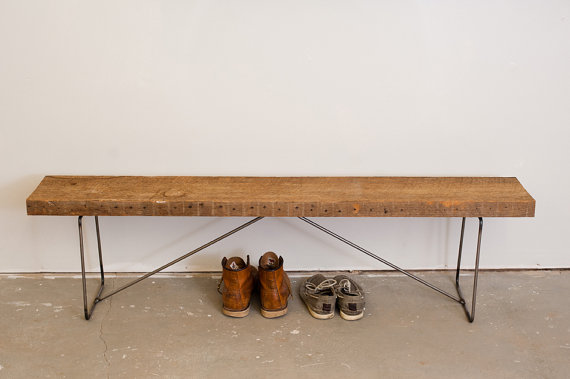 Simple Bench Reclaimed Wood and Steel by Dylan by dylangrey