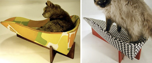 Mid-century Moderncat: Retro Mod Cat Bed Puts Vintage Fabrics to Great Use | moderncat :: cat products, cat toys, cat furniture, and more…all with modern style