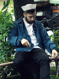 LOVE online store|MEN | Black Weirdos China Damage Coverall