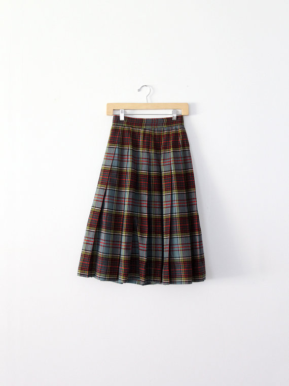 SALE SALE vintage 50s plaid skirt / box pleated by 86Vintage86
