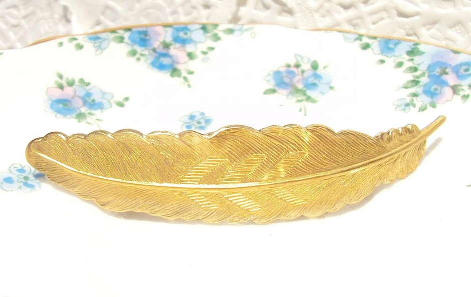 Large Gold Feather Barrette - Woodland on Luulla