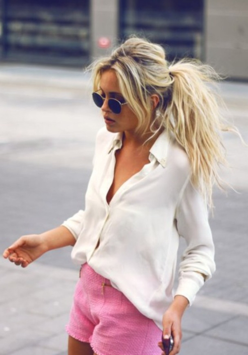 Why not to fall in Love white Shirt, Pink Shorts? And a beauty. | We Heart It