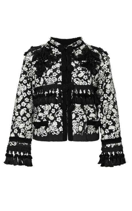 Collarless Embroidered Boucle Jacket With Passementerie Trim by Marc Jacobs for Preorder on Moda Operandi