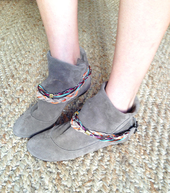 Wrinkled Dove Soft Suede Mini Boots with Colored by elehandmade
