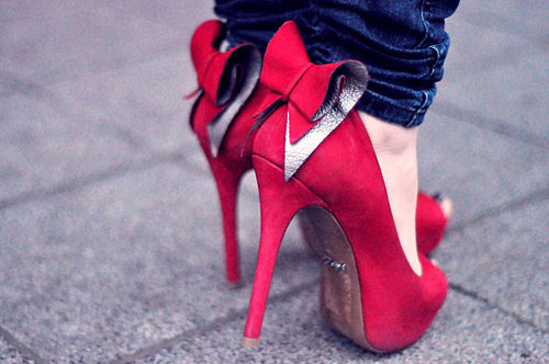 bow, fashion, feets, red shoe, shoe - inspiring picture on Favim.com   We Heart It