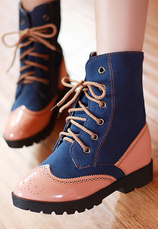 shopbazar shopping mall — [grzxy61900123]British Style Retro Perforated Mixing Color Booties