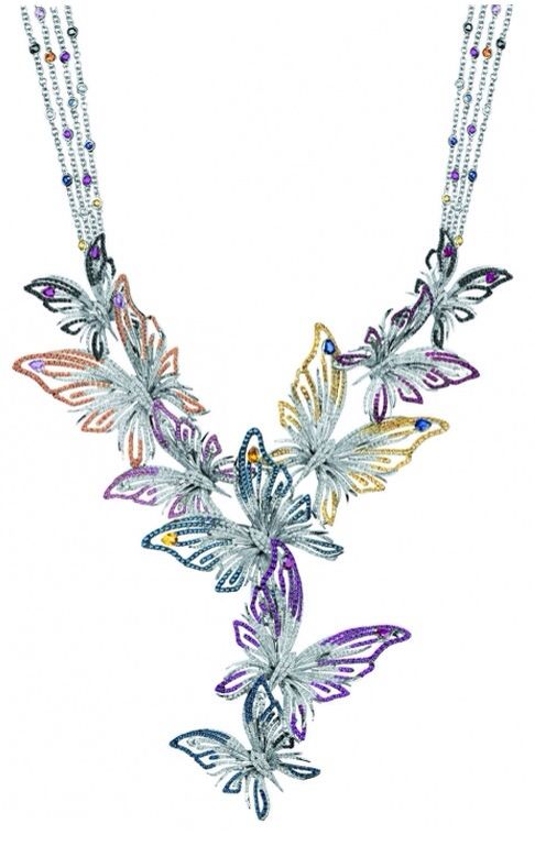 Butterfly Necklace : WHITE GOLD, ... | ❥❥Haute Necklaces❥❥