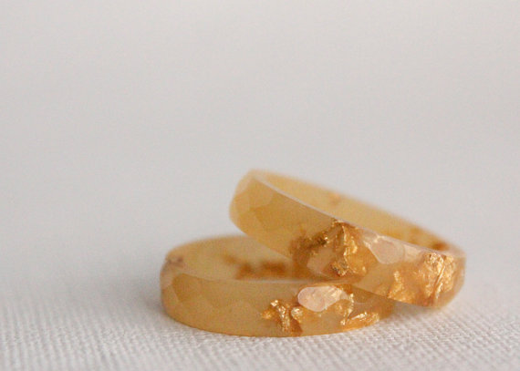 caramel and gold thin multifaceted eco resin ring by RosellaResin