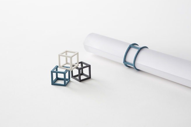 stationery by nendo for by | n features cubic rubber-band