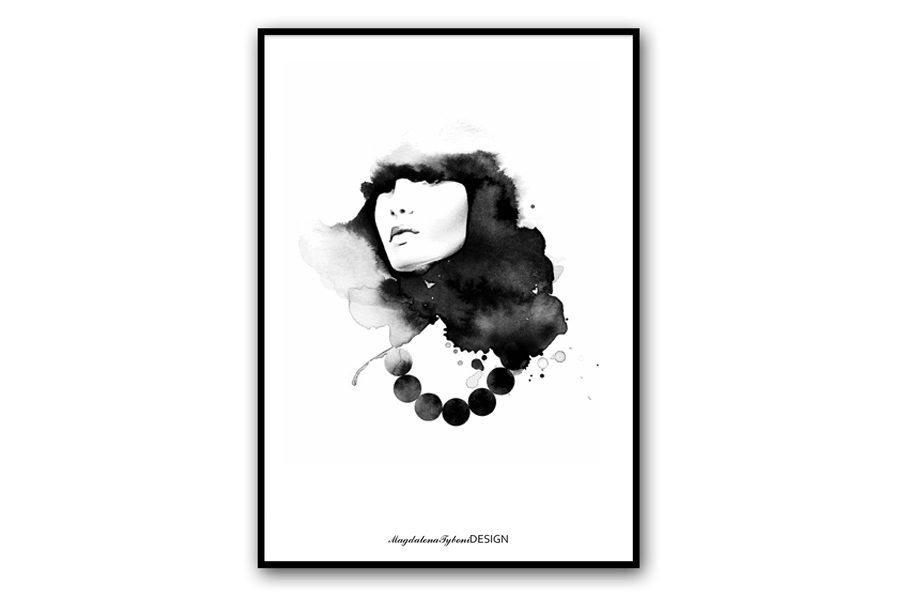 Magdalena Tyboni Design ポスター/アートプリント 30 x 40 cm Woman with Pearls