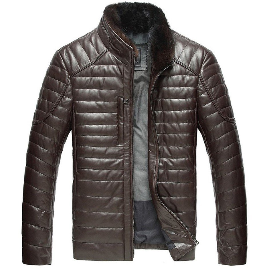 Cwmalls Quilted Leather Down Winter Jacket at Amazon Men's Clothing store: