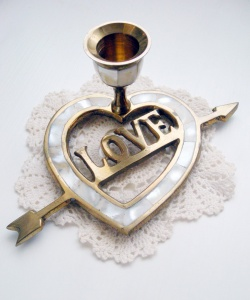 "SOLD OUT - 1960's Vintage ""ARROW LOVE HEART"" Candle Holder - Little ♥ Hideaway 〜ヴィンテージから現代まで〜 Candy Hearts♡USA & UK 輸入雑貨"