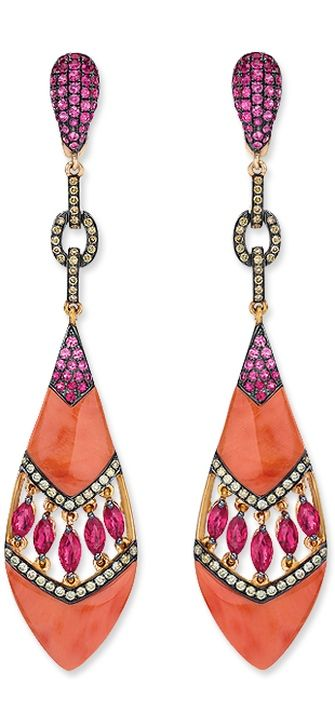 Carved coral drop earrings with rubies, ... | Bling bling: ear bling.