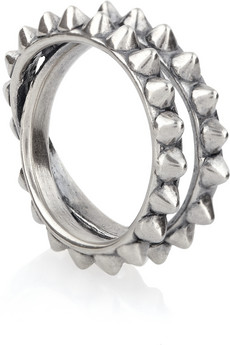 Tom Binns | Punk Pave spiked oxidized silver ring | NET-A-PORTER.COM