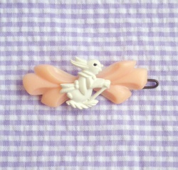 "Accessories - 1950's ""WHITE BUNNY with PINK RIBBON"" Vintage Barrette - Little ♥ Hideaway 〜ヴィンテージから現代まで〜 Candy Hearts♡USA & UK 輸入雑貨"