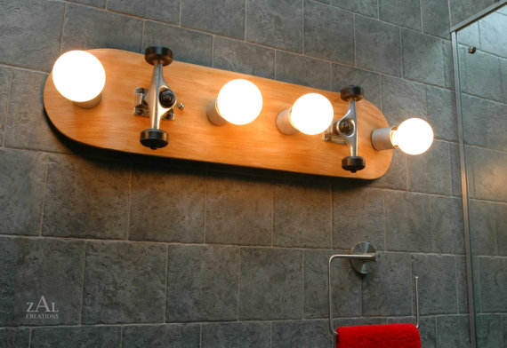 Skateboard Bathroom Vanity Lighting Fixture Wall by ZALcreations