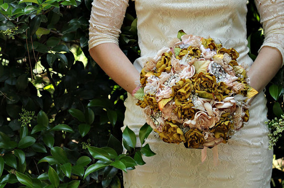 Fabric Flower and Brooch Bouquet by WillowandLarkSupply on Etsy
