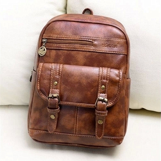 Leather Trims Simple Color Design PU Backpack on Luulla