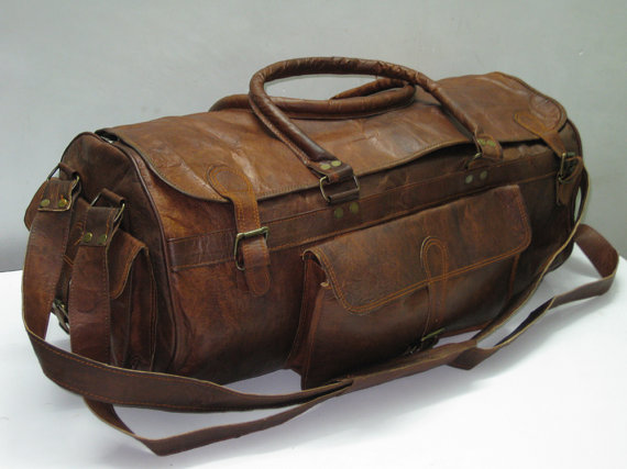 Pure leather Duffle Gym bag Travel bag Luggage by GenuineGoods786