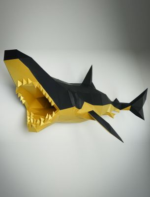 Shark, low poly, wall trophies | Papertrophy