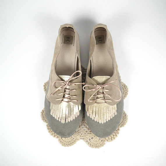 The Fringed Oxfords Handmade Shoes by elehandmade on Etsy