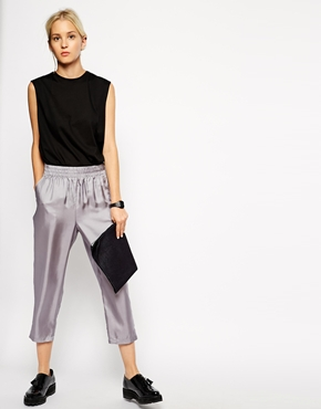 ASOS White | ASOS WHITE Silk Pull on Tapered Trouser at ASOS