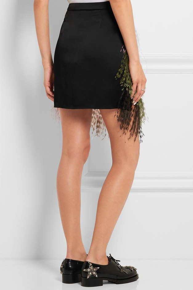 Christopher Kane | Feather-trimmed crepe de chine mini skirt | NET-A-PORTER.COM