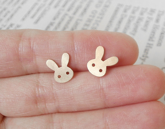 Bunny Rabbit Earring Studs Version 1 In 9ct Yellow Gold, Handmade In England | Luulla