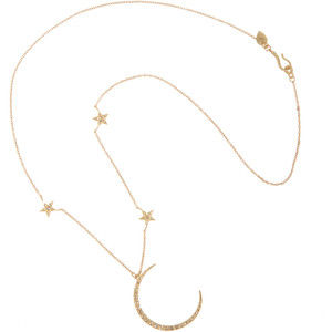 Me&Ro Gold & Diamond Crescent Moon & Triple Star Necklace - Polyvore