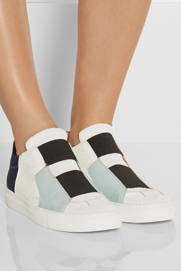 MM6 Maison Martin Margiela|Paneled leather and suede sneakers|NET-A-PORTER.COM