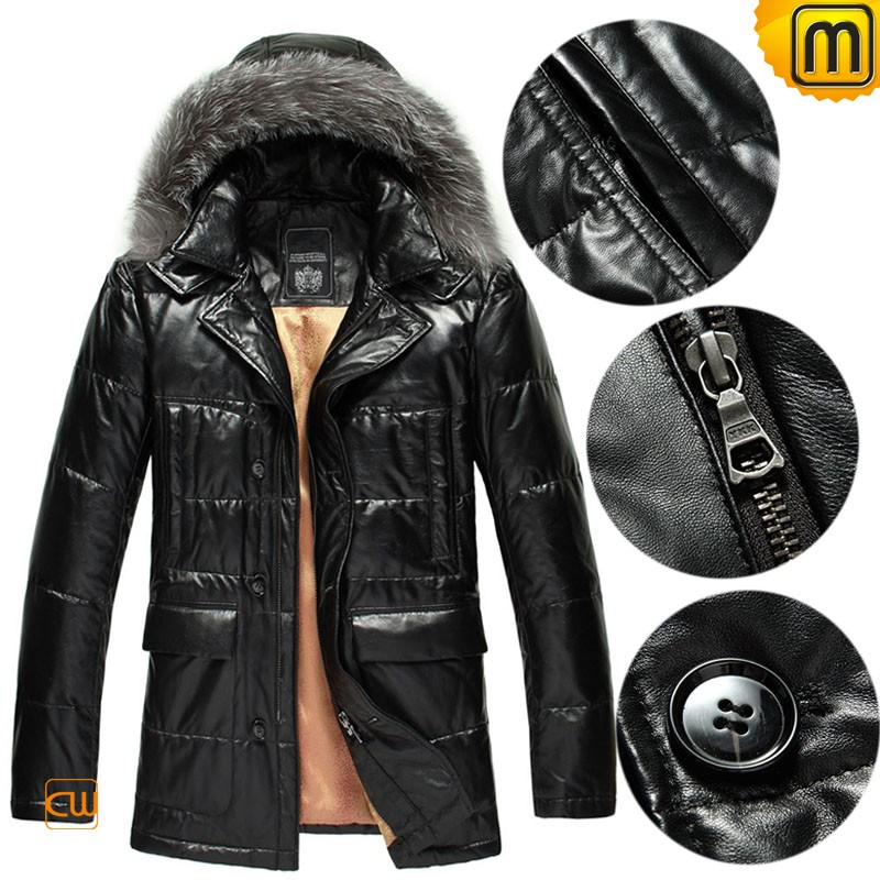Black Down Leather Jacket for Men CW848037