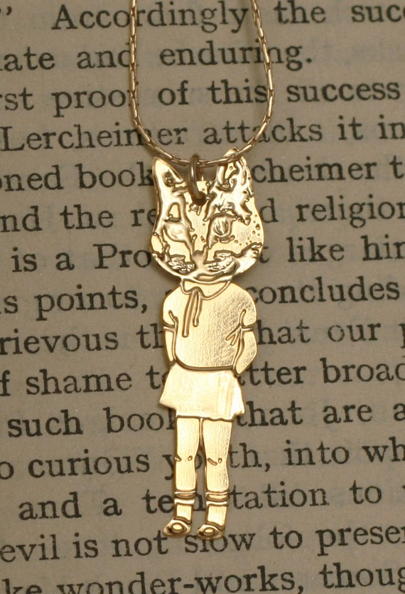 CAT girl gold pendant necklace Wild Thing by WildThingStudio