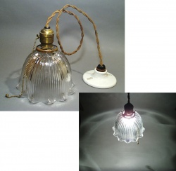 """Lighting&Electric - 1920-30's """"HOLOPHANE"""" Ribbed Glass Pendant Lamp - FUNNY SUPPLY □ Antiques ■"""