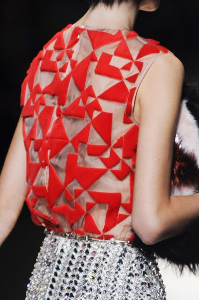 Geometric applique or something of some kind over organza. -Delaya B. Fendi Spring 2014 | textile related | Pinterest