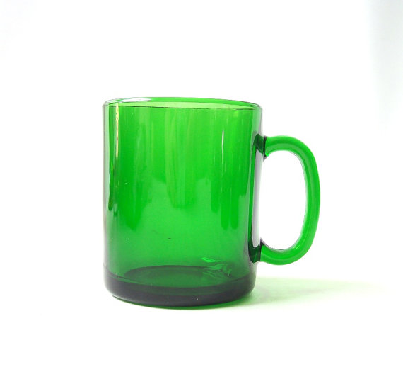 vintage green glass coffee mug france duralex by RecycleBuyVintage