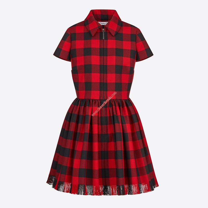 Dior Fringed Dress In Check Motif Wool Red