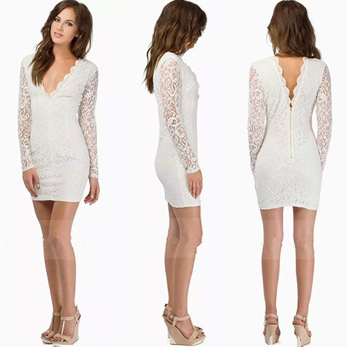 [grxjy56002943]Sexy Backless Deep V-neck Long Sleeve Slim Fit Lace Dress / pgfancy- fashion online shopping mall