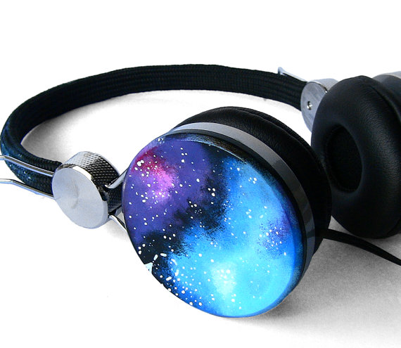 Space Galaxy Nebula Custom headphones earphones hand by ketchupize