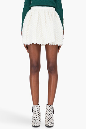 Opening Ceremony Ivory Gathered Wool Skirt for women | SSENSE