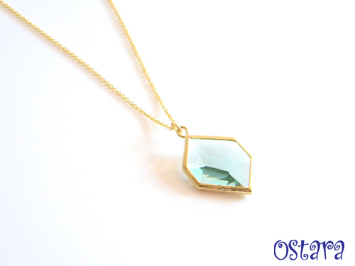 14kgf Chain/16k Gold Plated Cutting Glass Necklace/Montana,14k Gold Filled/16k・22k Gold Plated