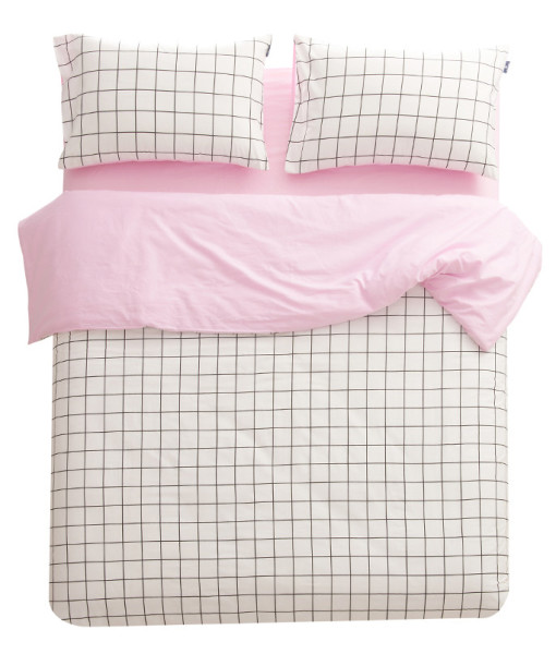 Athens Grid Lines in Baby Pink Cover Set | Sleepy Bum