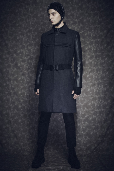"【99%IS-】レザー切替えロングコート""LEATHER LONG COAT""/BLACK 